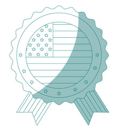 흰색 배경 벡터 일러스트 레이 션을 통해 미국 국기 아이콘을 인감 스탬프