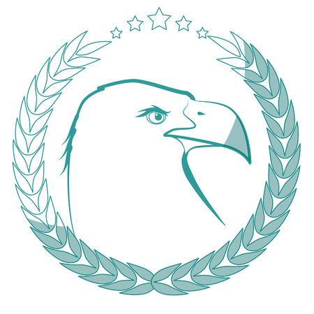 白い背景のベクトル図を鷲鳥アイコンが付いたスタンプをシールします。  イラスト・ベクター素材