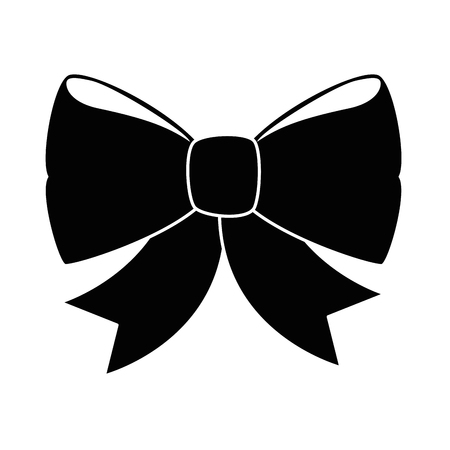 decorative bow icon over white background vector illustration