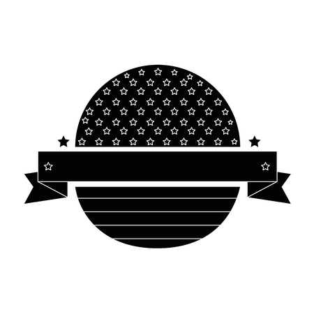 seal stamp with usa country flag and decorative ribbon icon over white background vector illustration Ilustrace