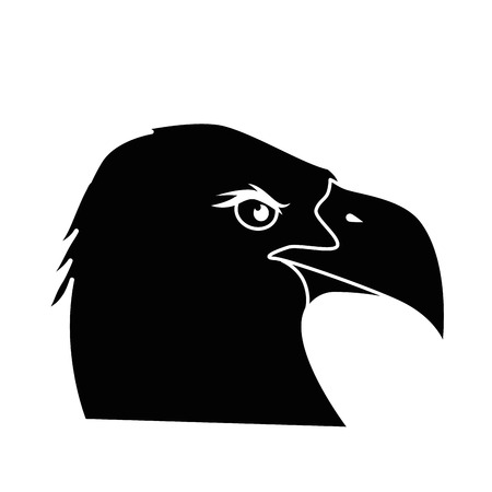An eagle bird's head icon isolated over white background vector illustration.