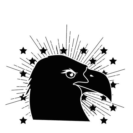 흰색 배경 벡터 일러스트 레이 션을 통해 별과 독수리 조류의 머리 아이콘 측면보기.