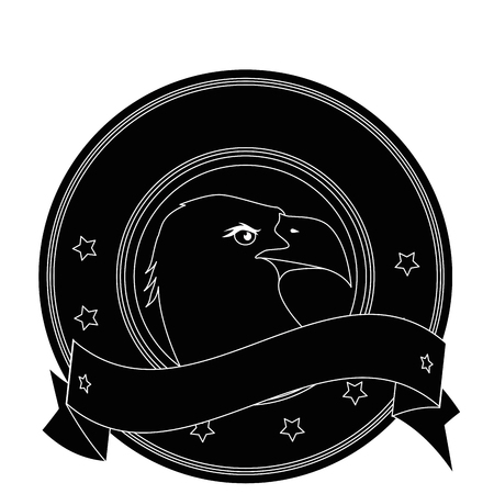 Silhouette seal stamp with eagle bird's head icon over white background vector illustration.
