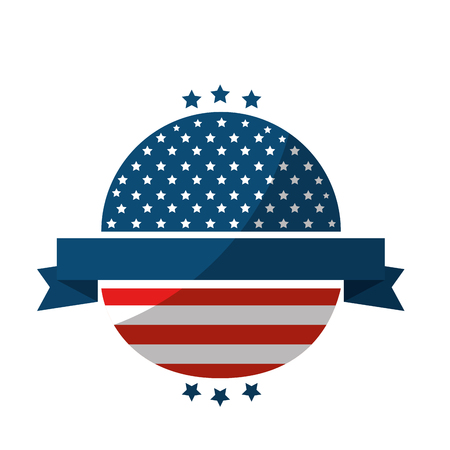 seal stamp with usa country flag and decorative ribbon icon over white background colorful design vector illustration