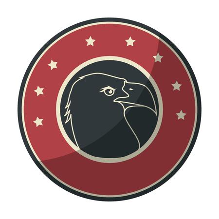 円形アイコン ベクトル イラスト グラフィック デザインでアメリカン ・ イーグルのシンボル。