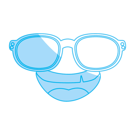 hapiness: Funny face cartoon with sun glasses icon vector illustration graphic design Illustration