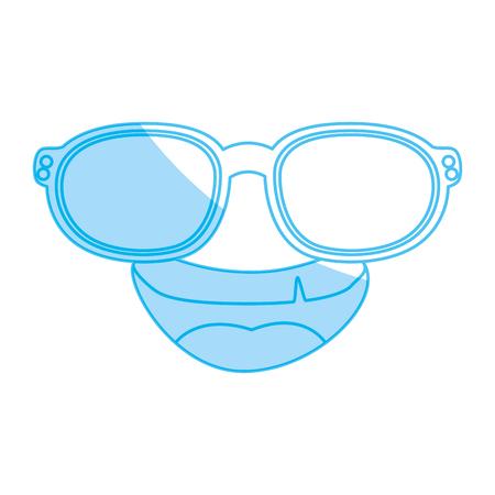Funny face cartoon with sun glasses icon vector illustration graphic design Illustration