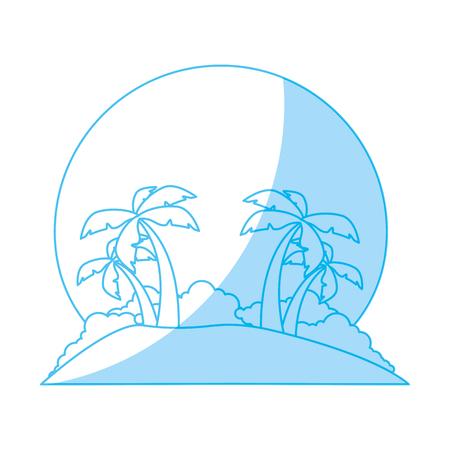beach sunset: Island tree palms icon vector illustration graphic design