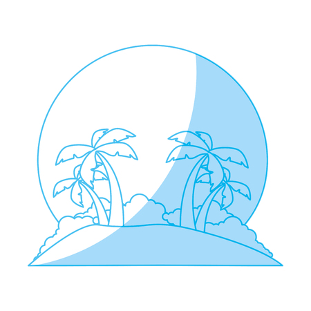 Island tree palms icon vector illustration graphic design