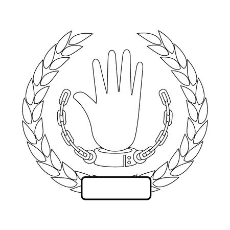 흰색 배경 벡터 일러스트 레이 션 위에 수 갑 아이콘으로 손으로 나뭇잎의 화 환