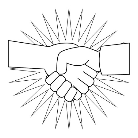 Hands with clenched fist icon over white background vector illustration Illustration