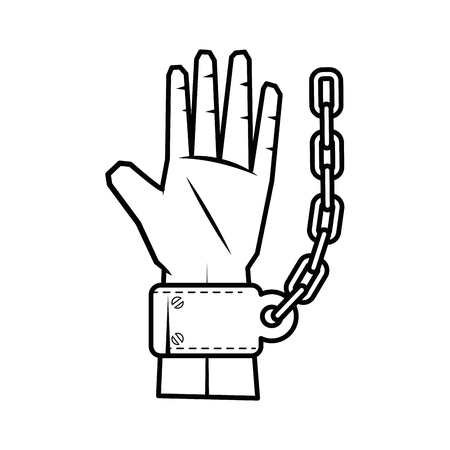 Hand with handcuffs icon over white background vector illustration 向量圖像