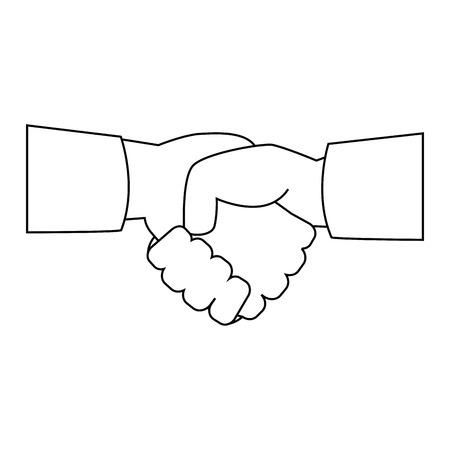 Handen met handdruk overeenkomst pictogram over witte achtergrond vector illustratie Stock Illustratie