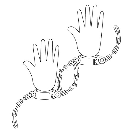 白い背景上の手錠アイコンと手ベクトル イラスト  イラスト・ベクター素材