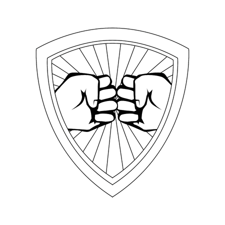 Shield with Hands with clenched fist icon over white background vector illustration Illustration