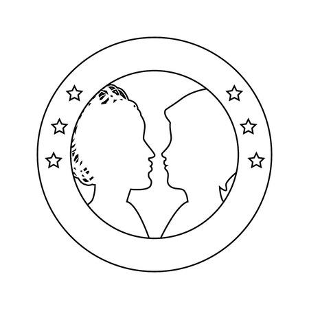 Verbindingszegel met silhouet van de hoofdenpictogram van vrouwen over witte vectorillustratie als achtergrond