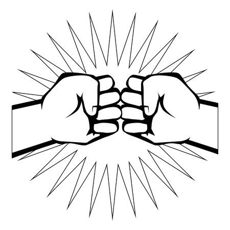 Handen met gebalde vuist pictogram over witte achtergrond vectorillustratie Stock Illustratie