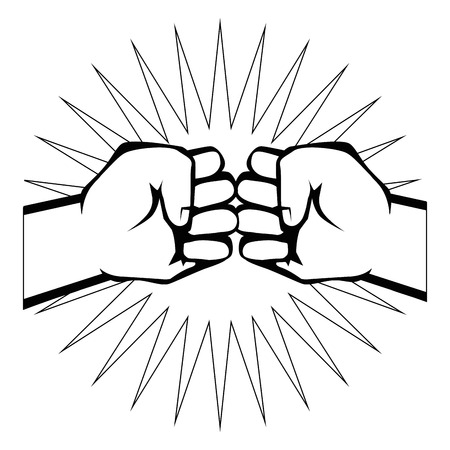 Hands with clenched fist icon over white background vector illustration Illusztráció