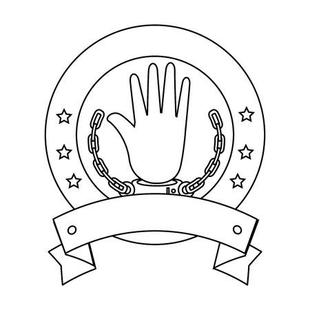 白い背景ベクトル図をアイコンを手錠で手シール スタンプ