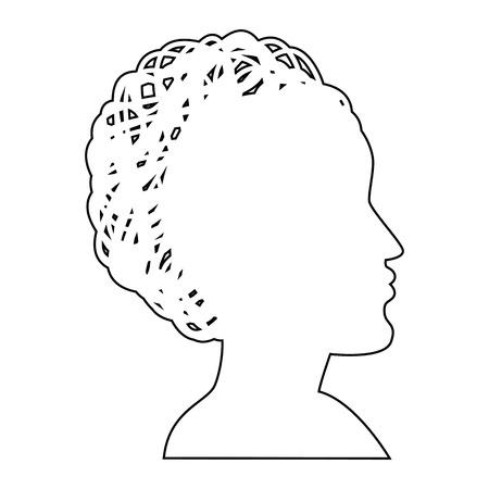 Silhouet van dames hoofd pictogram op witte achtergrond vector illustratie Stock Illustratie