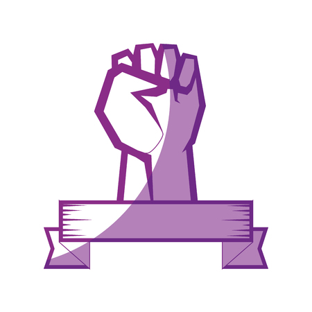 decorative ribbon with Hand with clenched fist icon over white background vector illustration