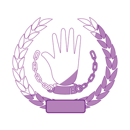 wreath of leaves with hand with handcuffs icon over white background vector illustration 向量圖像