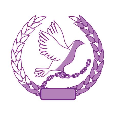 白い背景のベクトル図の上の鳩のアイコンと葉の花輪  イラスト・ベクター素材