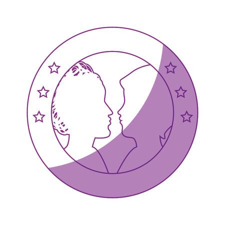 zegel stempel met silhouet van vrouwen hoofden pictogram over witte achtergrond vectorillustratie