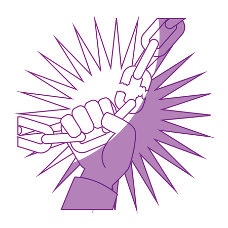hand grabbing a broken chain icon over white background vector illustration Çizim