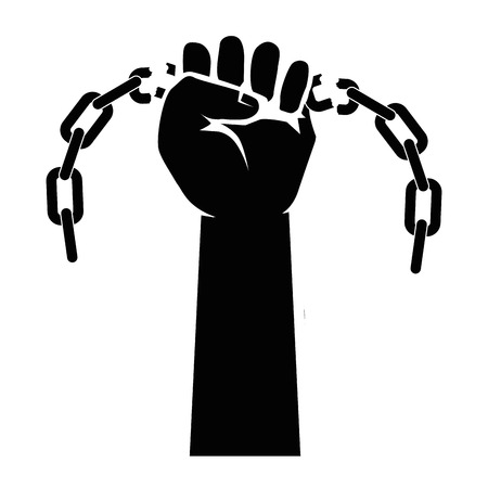 enslaved: Chain of slavery icon vector illustration graphic design