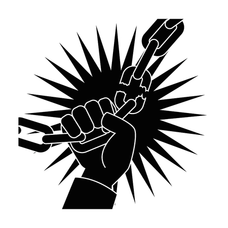 Kette der Sklaverei Icon Vektor-Illustration Grafik-Design Standard-Bild - 81726566