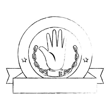 zegel stempel met hand met handboeien icoon over witte achtergrond vector illustratie