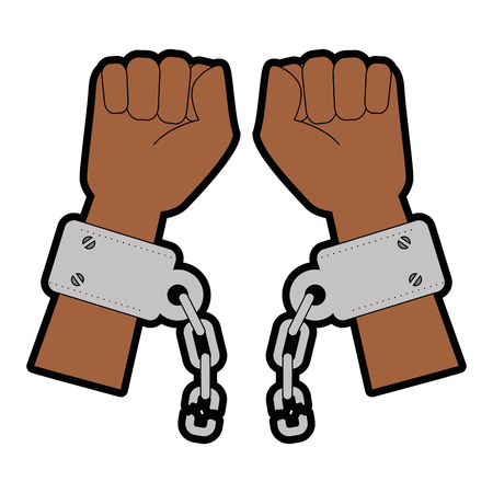 hands with handcuffs icon over white background vector illustration