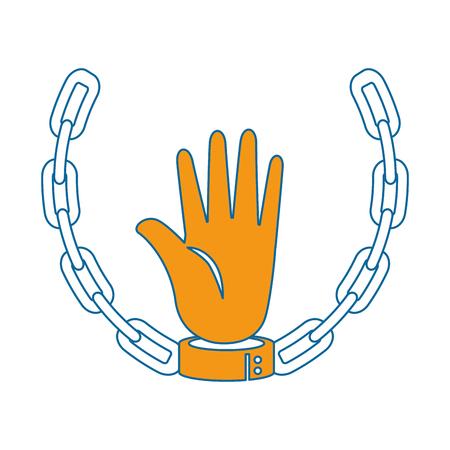 Hand mit Handschellen und Kettenikone über weißer Hintergrundvektorillustration Standard-Bild - 81726759