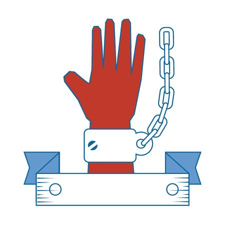 装飾的なリボンで手が白い背景ベクトル図でアイコンを手錠します。