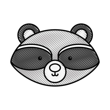 Schattig en tedere wasbeer vector illustratie ontwerp