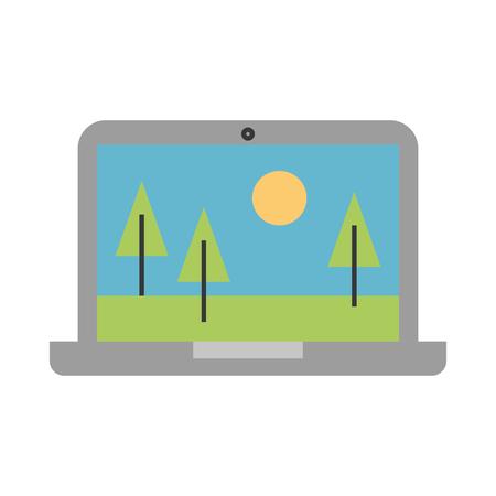 風景のアイコン ベクトル イラスト デザイン ノート パソコン
