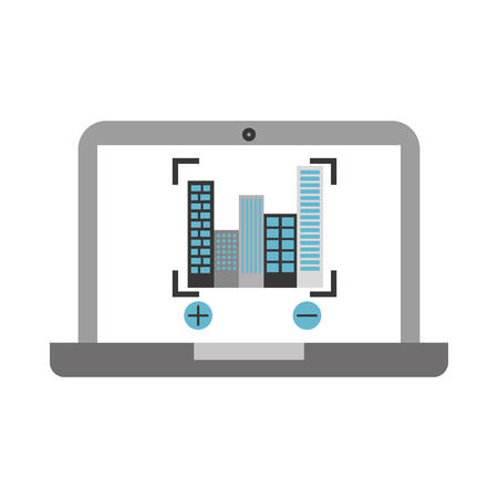laptop with buildings cityscape scene vector illustration design