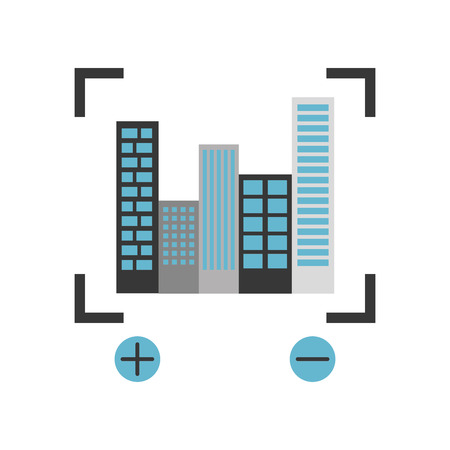 A buildings cityscape scene with target vector illustration design. Ilustração