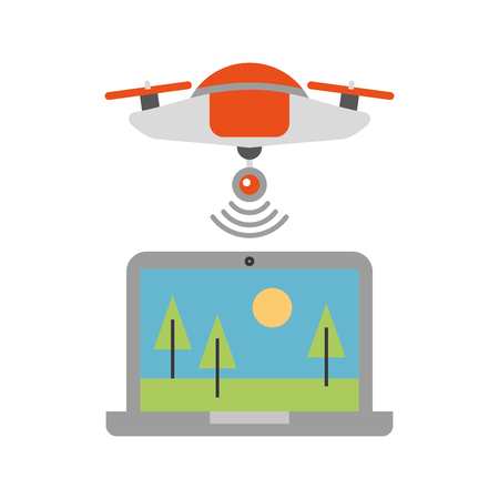 A drone flying technology with laptop vector illustration design.