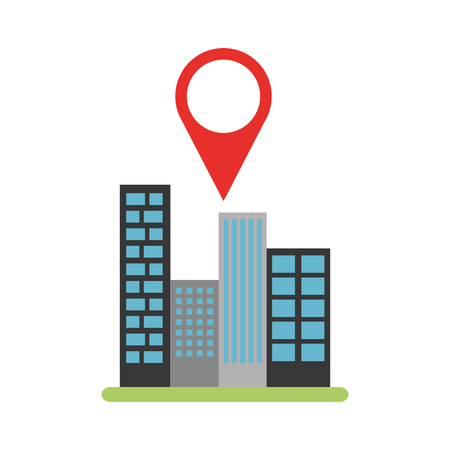 buildings cityscape scene with pin location vector illustration design Illustration