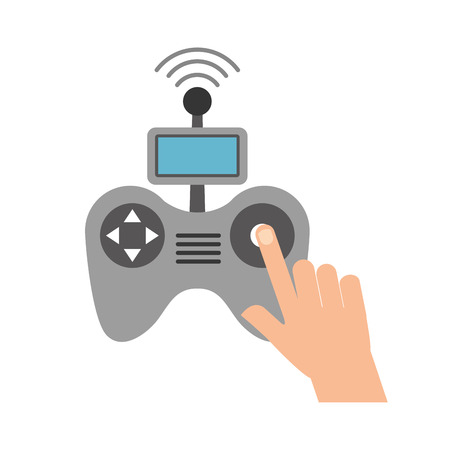 hands human with Drone remote control icon vector illustration design