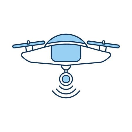 Een hommel vliegende technologie met ontwerp van de camera het vectorillustratie.