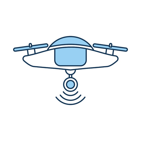 A drone flying technology with camera vector illustration design.