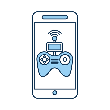 A smartphone with Drone remote control app vector illustration design.