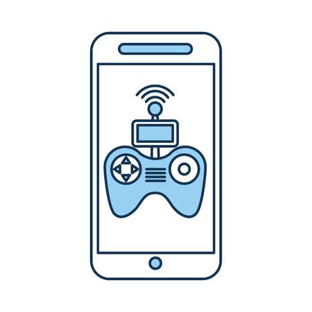 A smartphone with Drone remote control app vector illustration design.