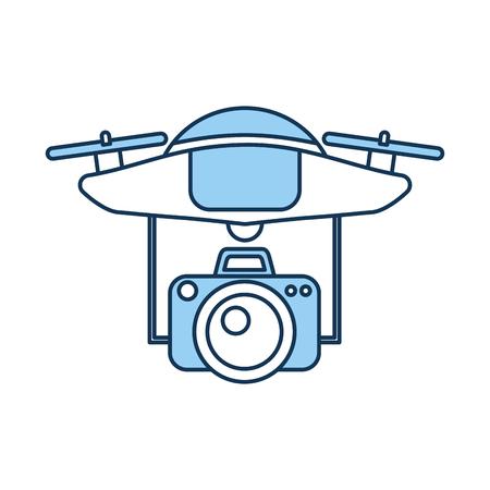 Een drone vliegende technologie met camera vector illustratie ontwerp.