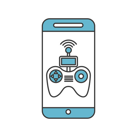 smartphone with Drone remote control app vector illustration design