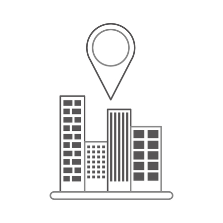 buildings cityscape scene with pin location vector illustration design Ilustração
