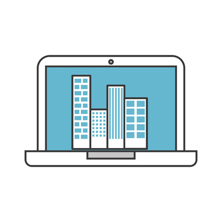 laptop with buildings cityscape scene vector illustration design